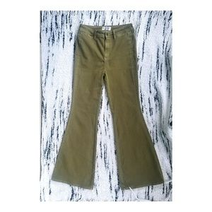 Free People Olive Bell Bottoms Flare Jeans
